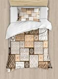 Arabian Duvet Cover Set by Ambesonne, Colorful Patchwork Art Oriental Patterns Ornaments Cultural Illustration Print, 2 Piece Bedding Set with Pillow Sham, Twin / Twin XL, Brown Cream