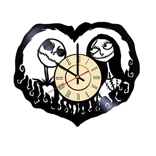 Sally and Jack Vinyl Clock Gift for Nightmare Before Christmas Fans Halloween Town Wall Decor Kingdom Hearts Art Pumpkin King Room Artwork