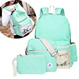 Back to School Polka Dot 3 in 1 Canvas Backpack by AIQI, Casual Rucksack Laptop Netbook Computer Shoulder Bags / College Bookbag for Teen Girls / College Student (Light green)