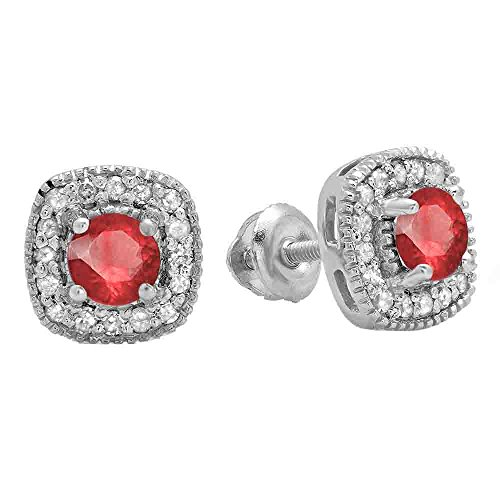 Dazzlingrock Collection 10K Ladies Halo Stud Earrings, White Gold