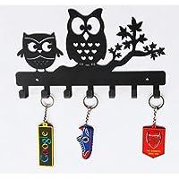 HeavenlyKraft Owl Duo Metal Key Holder, Size 10.6 X 6.1 X 0.8 INCH Steel Key Rack, Metal Key Cabinet, Owl Key hanger, Medal Hanger, Leash Hanger Standard Black