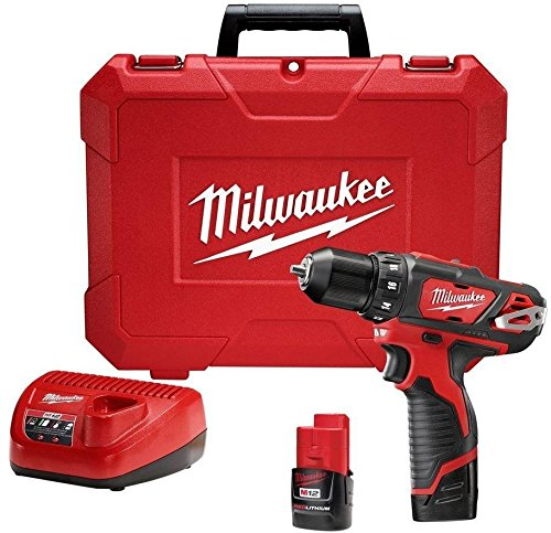 Milwaukee Cordless Drill Driver Kit M12 12-Volt Lithium-Ion 3/8 In. Tool 2407-22 .#GH45843 3468-T34562FD535945