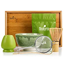 Tealyra - Matcha - Connoisseur Ceremony Start Up Kit - Complete Matcha Green Tea Gift-Set - Imperial Matcha Tea Powder - Japanese Made Green Bowl - Bamboo Whisk Scoop and Tray - Holder - Sifter