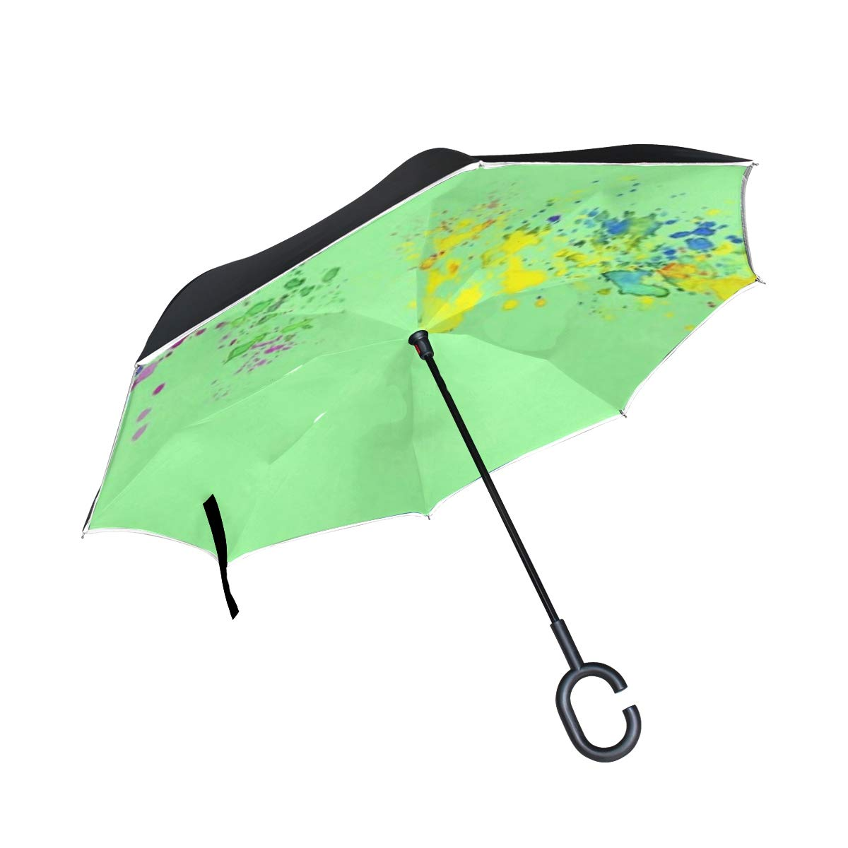 Jnseff Double Layer Inverted Banner Template Green Colorful School Fun Umbrellas Reverse Folding Umbrella Windproof Uv Protection Big Straight Umbrella for Car Rain Outdoor with C-Shaped Handle