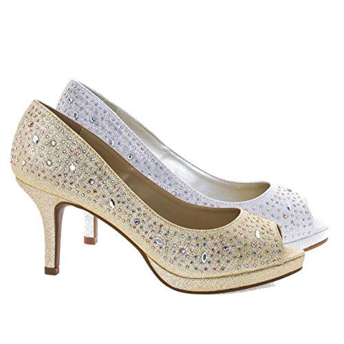 Heel Gold Evening Prom Shoes (Frank Gold Comfort Soft Foam Peep Toe Glitter Rhinestones, High Heel Dress Pump -10)