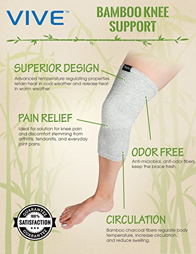 Bamboo Knee Support by Vive - Best Elastic Compression Sleeve for Arthritis,Tendonitis and Running - Antimicrobal Bamboo Material - Vive Guarantee (Small / Medium)