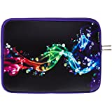 """Caseling Neoprene Sleeve Pouch Case Bag for 11.6"""" Inch Laptop Computer. Designed to fit any laptop / Notebook / Ultrabook / Macbook with Display size 11.6"""" inches. - Colorful/Black"""