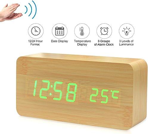 marron LED r/éveil en bois r/éveil en bois num/érique niveau en bois 3 r/églage de la luminosit/é r/églage vocal affichage temps humidit/é date temp/érature