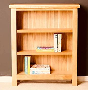 Small Oak Bookcase Solid Wood Furniture Rustic Wooden Storage Narrow Shelving  Display Unit Brown Side Cabinet
