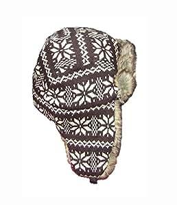 Alta calidad copo de nieve patrón tejido con forro de piel de Fuax Trapper Piloto sombrero