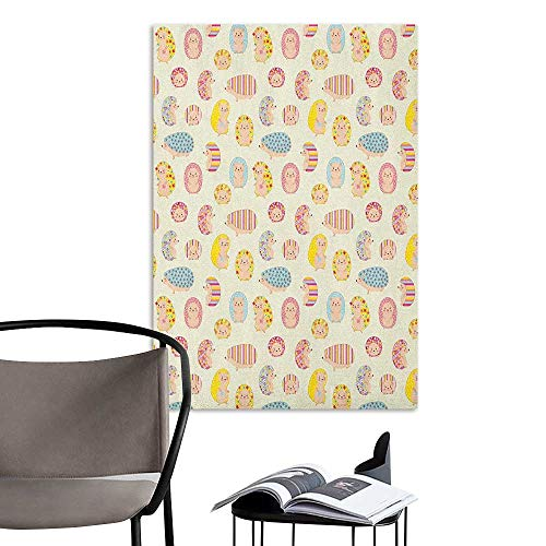 Alexandear Wall Mural Wallpaper Stickers Hedgehog Smiling Baby Characters with Dotted Floral and Striped Prints Kids Toddler Nursery Multicolor 3D Decorative Sticker W8 x - Nyc Print Calendar