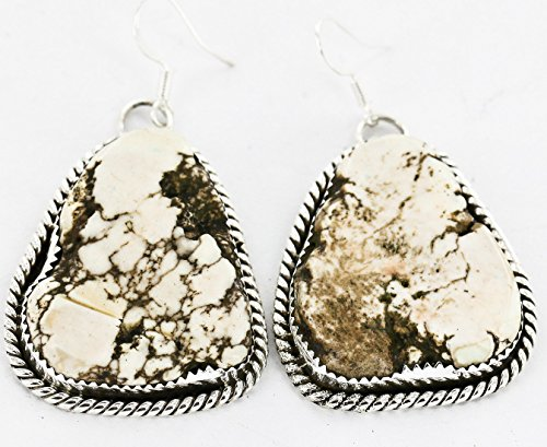 $480 Retail Tag Large Authentic Handmade Made by Robert Little Navajo Silver Dangle Native American Earrings Natural White Buffalo Turquoise by Native-Bay