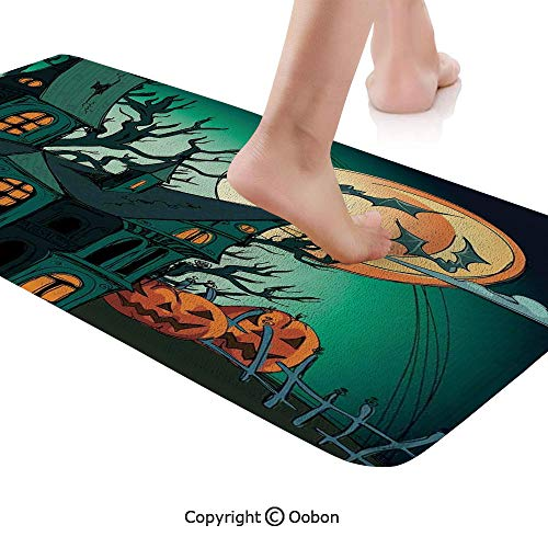 Halloween Decorations Rug Runner,Haunted Medieval Cartoon Bats in Twilight Gothic Fiction Spooky Art,Plush Door Carpet Floor Kitchen Decor Mat with Non Slip Backing,71 X 24 Inches,Orange Teal]()