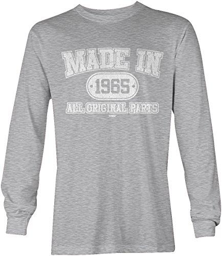 Made In 1965 all Original Parts - 51st Birthday Gift Long Sleeve Men's T-shirt (XL, LIGHT GRAY)