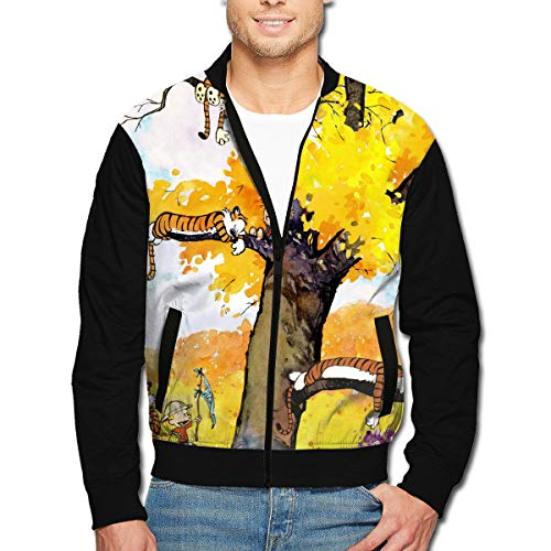 JAWANNA Calvin-and-Hobbes Men's Windproof Warm Zip-up Jacket L ()