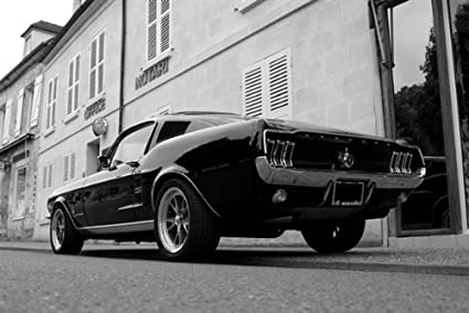 Amazon Com Ford Mustang Fastback Left Rear Black And White Hd