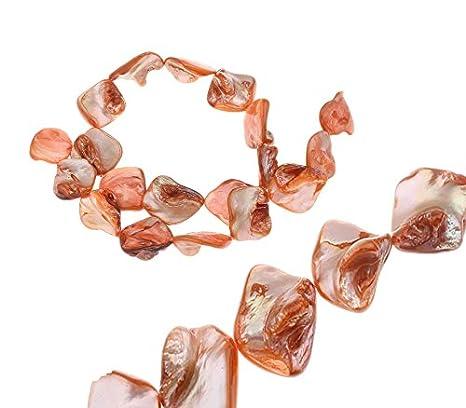 Perles nacr/ées 20 mm 1 Strang 18 pi/èces Nacre Perles de Coquillages Noisettes Chips Forme env