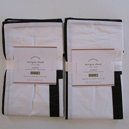Pottery Barn MORGAN 400-Thread-Count Standard Shams ~ Set of Two~Black~