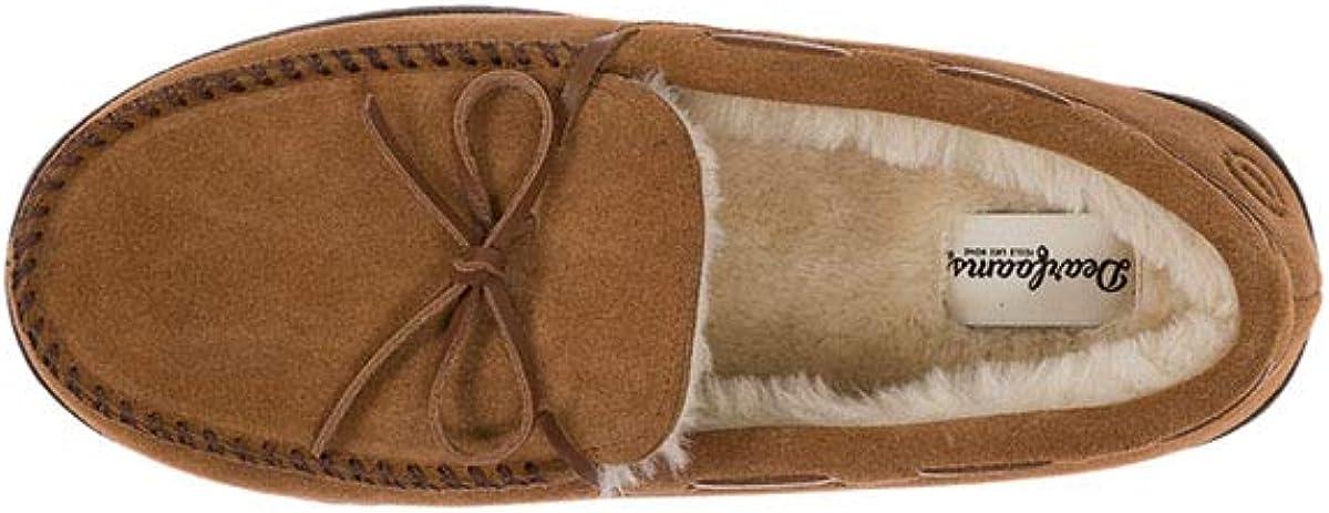 Lavable Mens Genuine Moccasin Slipper with Tie Transpirable y Flexible Zapatillas de casa de Hombre Dearfoams de Piel Serraje con Memory Foam excelente Confort
