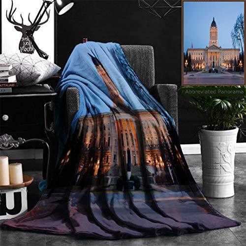 Nalagoo Unique Custom Flannel Blankets Manitoba Legislative Building At Dusk In Winnipeg Manitoba Canada Super Soft Blanketry for Bed Couch, Throw Blanket 40