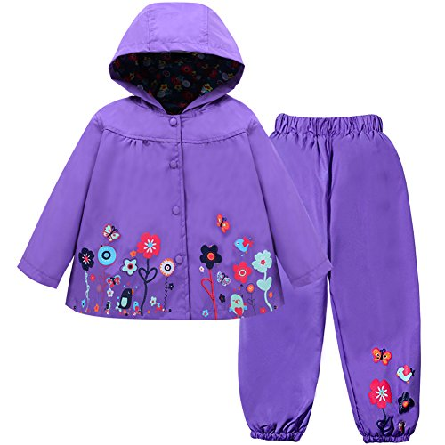 (LZH Girl Baby Kid Waterproof Hooded Coat Jacket Outwear Suit Raincoat Hoodies with Pants Rurple 6(For Age 5-6Y))