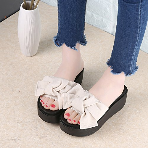 Big Pink Thytas Woman Bowtie Slippers Resistant Slip Flops Summer Beach Flip Sandals gwZdwqU