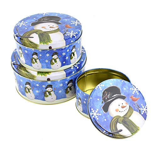 Tin Snowman Cookie (Homeford Christmas Cookie Tin Round Containers with Snowman, 3 Size, Blue)