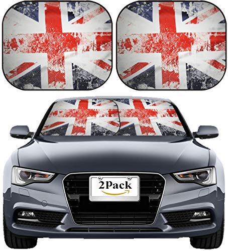 MSD Car Sun Shade Windshield Sunshade Universal Fit 2 Pack, Block Sun Glare, UV and Heat, Protect Car Interior, Image ID: 29834313 Closeup of Grunge Union Jack Flag