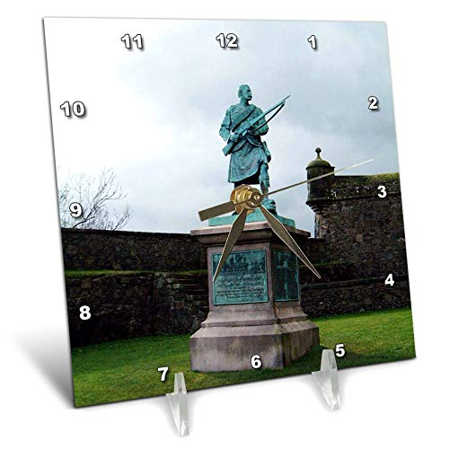 3dRose Jos Fauxtographee- Statue at Stirling Castle - A Statue in Scotland at The Stirling Castle - 6x6 Desk Clock (dc_293346_1) ()