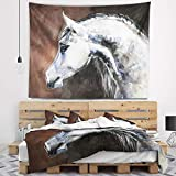 Designart TAP13288-60-50 'Gray Arabian Horse Watercolor' Abstract Tapestry Blanket Décor Wall Art for Home and Office, Large: 60 in. x 50 in, Created on Lightweight Polyester Fabric