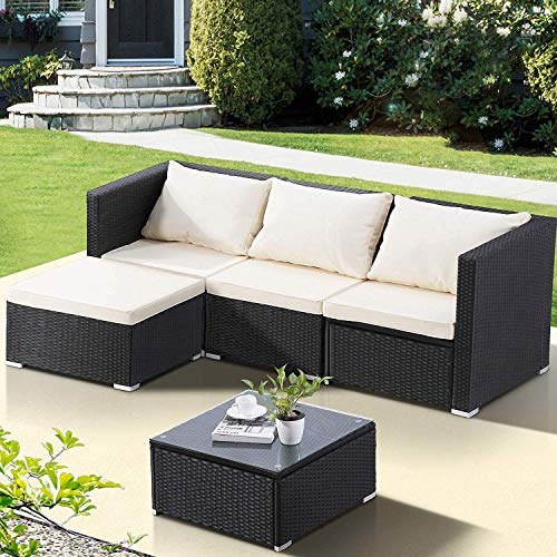 - mecor Wicker Patio Furniture Set, 5 PC Outdoor Rattan Furniture Set Cushioned Sectional Sofa &Glass Coffee Table, Garden,Backyard,Lawn Furniture Black