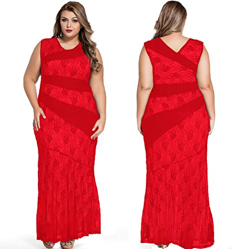 ACHICGIRL Women Chic Red Lace Trim Plus Size Mermaid Prom Dress Red