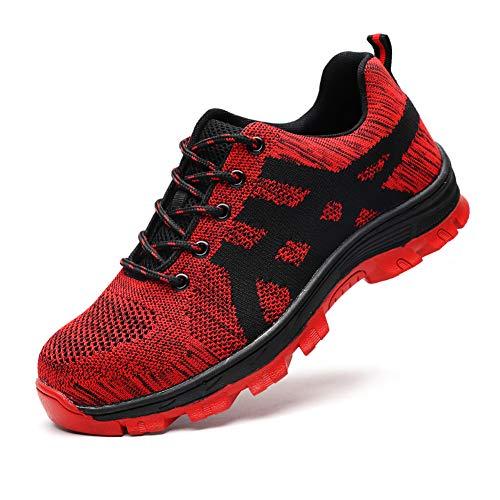 Zapatos de Seguridad Hombres y Mujeres S3 Zapatos de Trabajo con Punta de Acero Ligero Zapatos Deportivos Ligeros y…