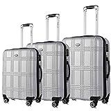 """Travel Joy Expandable Luggage Set, Suitcases TSA Lightweight Spinner Hardside Luggage Sets, Carry On Luggage (SILVER, 3 pcs set(20""""24""""28""""))"""