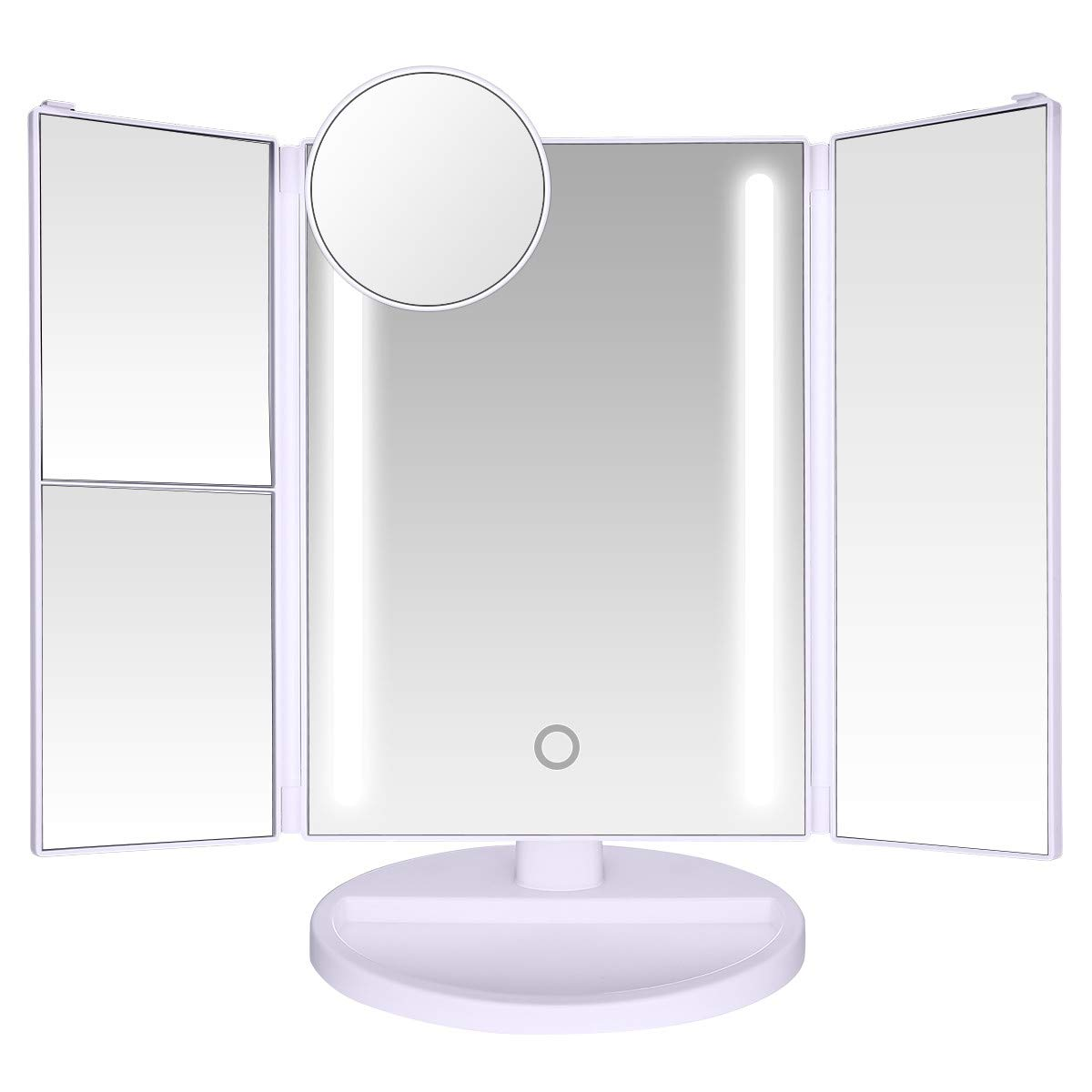 LEPO Makeup Vanity Mirror with Touch Screen, 10x/3x/2x/1x Magnification LED Makeup Mirror with 24 LED Lights, 180° Free Rotation, High Definition Cosmetic Mirror
