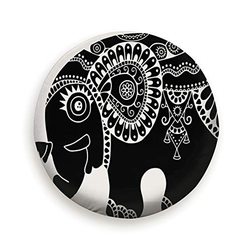 Cool pillow Tire Cover Cute Little Elephant Black White Totem Animals Wildlife Polyester Universal Spare Wheel Tire Cover Wheel Covers Jeep Trailer Rv SUV Truck Camper Travel Trailer Accessories