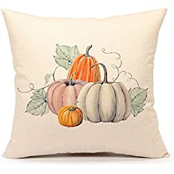 Pumpkin Throw Pillow Cover Halloween Cushion Case 18 x 18 Inch Cotton Linen Autumn Fall Home Decor