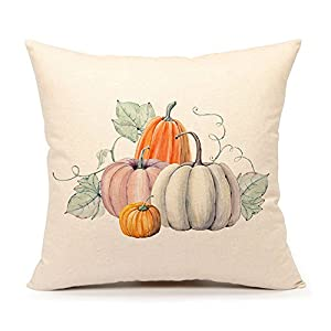 4TH Emotion Pumpkin Throw Pillow Cover Halloween Cushion Case 18 x 18 Inch Cotton Linen Autumn Fall Thanksgiving Home Decoration