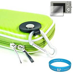 Camera Case for Sony Cybershot DSC-T DSC-W Series (Candy Green) + Universal LCD Screen Protector Kit + Includes SumacLife Wisdom Courage Wristband