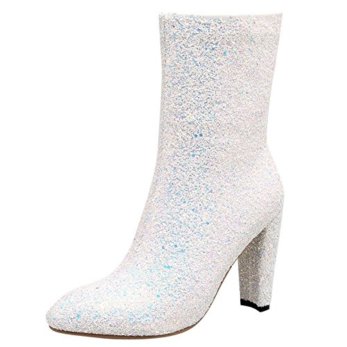 YE Damen Blockabsatz Ankle Boots Glitzer Stiefeletten mit Reißverschluss und Pailletten Elegant Modern Schuhe Weiß