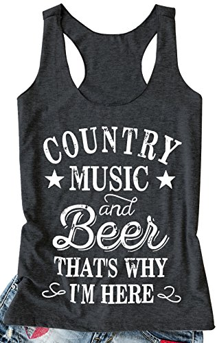 kikisa Women Tank Top Country Music and Beer That's Why I'm Here Vest Sleeveless T Shirt (Small, Black) ()