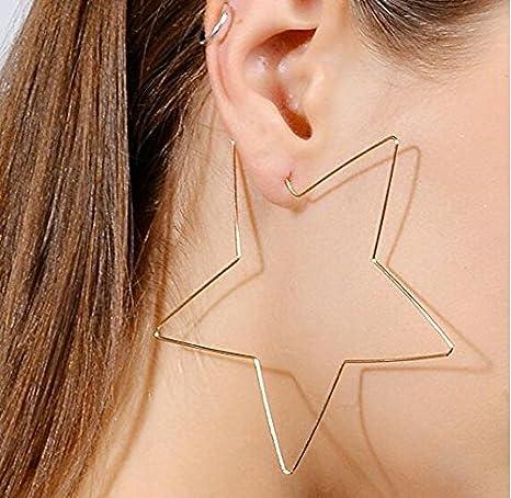 3e8b5d5111f2 DROVE Pendientes de aro con Forma de Estrella Grandes Estilo Simple para  Mujer y niña