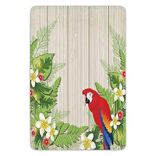 Bathroom Bath Rug Kitchen Floor Mat Carpet,Parrots Decor,Tropic Flowers and African Parrot in Summer Garden Wooden Wall Ferns Decorative Art,Cream Green Red,Flannel Microfiber Non-slip Soft Absorbent