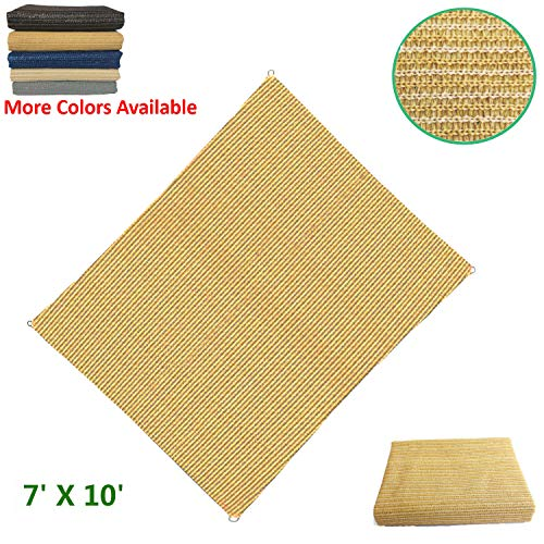 (Eden's Decor Flat-Edged Rectangular 7' X 10' Wheat UV-Blocking Sun Shade Sail for Outdoor Patio, Swimming Pool & Pergola)