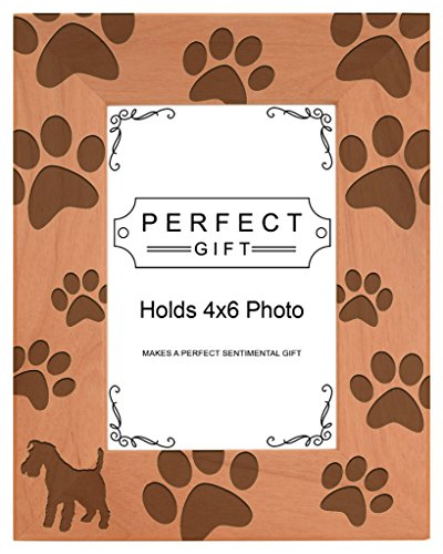 Dog Lover Gift Miniature Schnauzer Paw Print Natural Wood Engraved 4x6 Portrait Picture Frame Wood