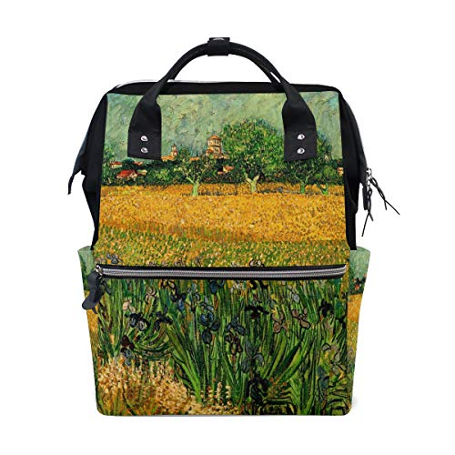 Van Gogh Art ARLES WITH IRISES Travel Backpack Diaper Bag