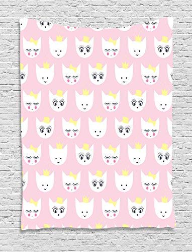 Cat Tapestry Wall Hanging, Princess Kitty Baby Girlish Trendy Pattern with Crown and Hat Teenage Art Print Wall Art Tapestries for Home Bedroom Living Room Dorm Decor, 50WX59L Inches, Light Pink White