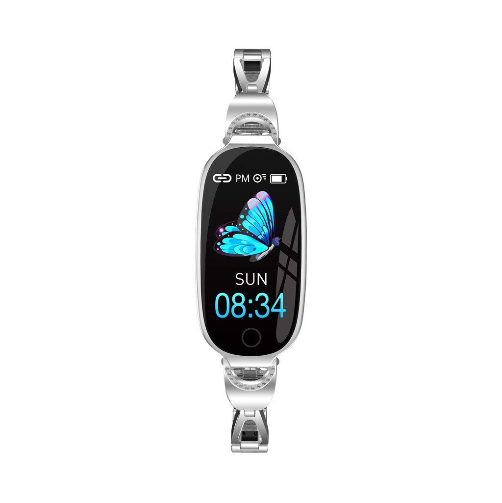 For iOS Android, Women Sport Smart Watch Heart Rate Blood Pressure Monitor Physiological Cycle Reminder Bracelet (Silver)
