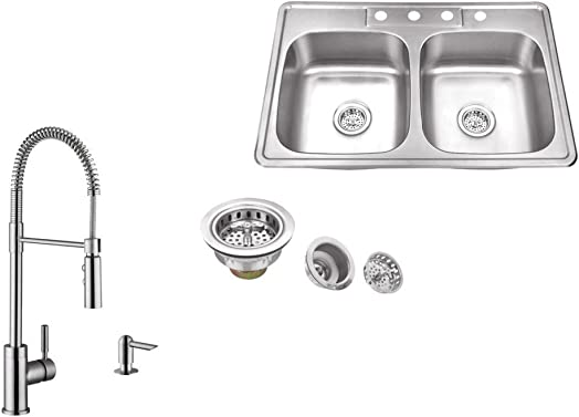 MSDP5050P7556, 33 x 22 Stainless Steel Drop In Double Bowl Kitchen Sink with Pull Out Kitchen Faucet and Soap Dispenser