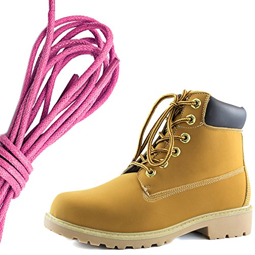 DailyShoes Womens Lace-Up Ankle Padded Collar Work Combat Hard Toe Booties, Pink Tan Black Pu